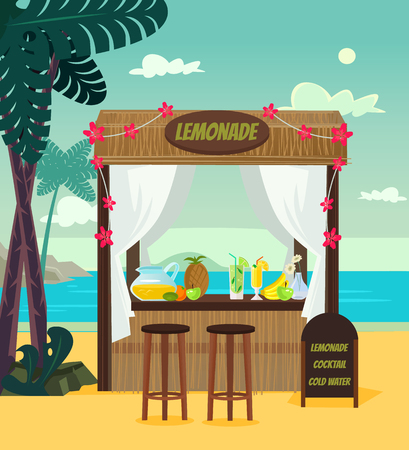 Market store sale lemonade on the beach sea resort. Summer time holiday vacation relax banner banner cartoon flat illustration