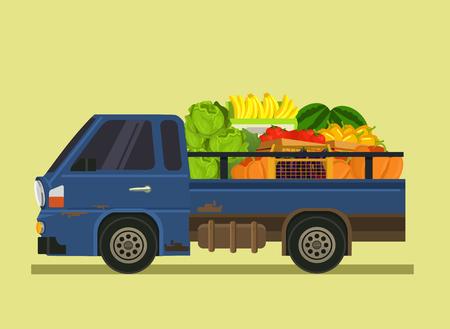Car machine full of vegetables fruit. Farm agriculture summer time isolated cartoon flat illustration Vettoriali
