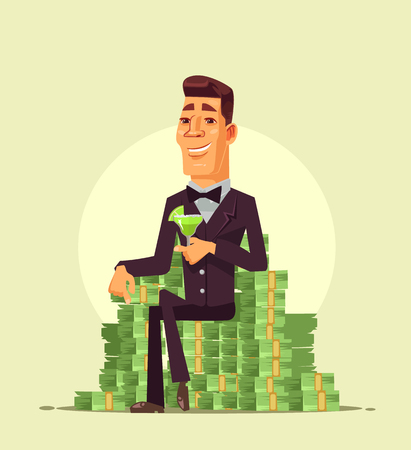 Rich wealthy happy smiling businessman worker businessman sitting on a pile stack heap of money and drinking a cocktail. Successful life cartoon Illustration