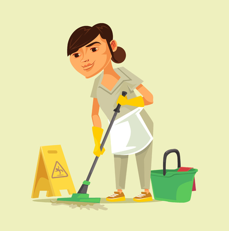 Happy smiling cleaning staff. Cleaning isolated cartoon vector illustration