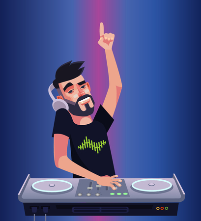 DJ boy man music mixer music and having fun. Night club disco bar isolated cartoon vector illustration