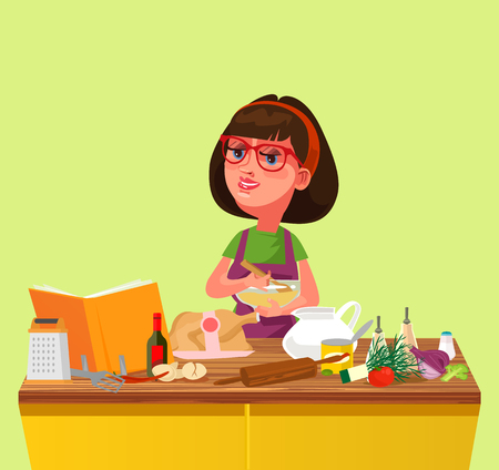 Happy smiling woman. Culinary home cartoon flat isolated illustration