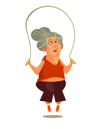 Happy smiling old woman. Active healthy lifestyle retirement cartoon