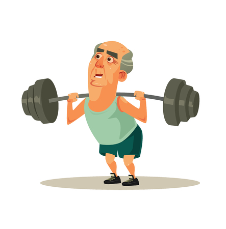 Happy smiling grandpa old man character doing exercise workout with dumbbell. Active healthy lifestyle retirement cartoon