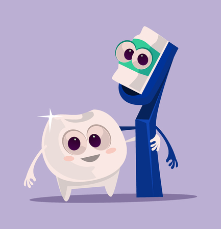 Happy smiling toothbrush and toothpaste characters. Oral dental hygiene tooth medical cartoon flat isolated illustration Illustration