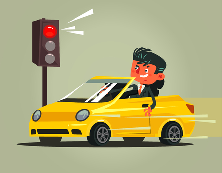 Angry bad rushing driver car man. Transportation driving problems flat cartoon illustration graphic design concept Vettoriali