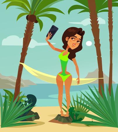 Beautiful woman in bikini swimsuit sunbathing resting relaxing on beach ocean seaboard seaside shore and taking photo selfie. Vacation resort tour flat cartoon illustration graphic design concept element