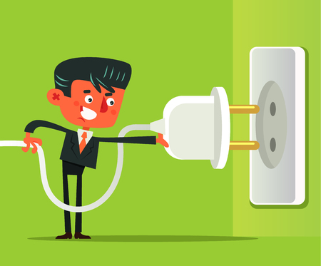 Office cable power socket. Error page flat cartoon illustration graphic design concept element