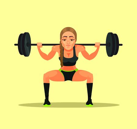 Deportiva fitness culturista atleta instructor profesor mujer haciendo ejercicio en cuclillas con barra pesada. Concepto de diseño gráfico de ilustración de dibujos animados plana deportiva