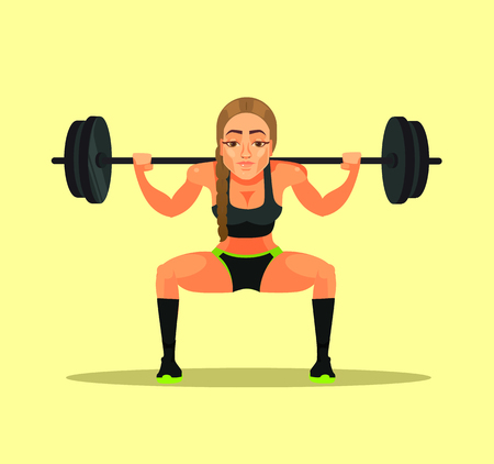 Sporty fitness bodybuilder athlete instructor teacher woman doing exercise squat with heavy barbell. Sport flat cartoon illustration graphic design concept
