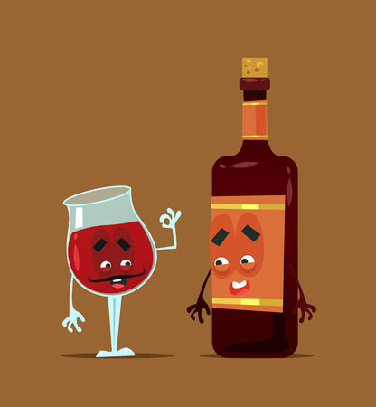 Red wine bottle and glass best friends. Alcohol party flat cartoon illustration graphic design concept element
