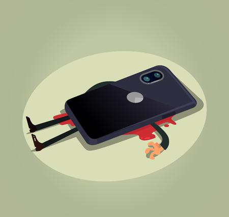 Unhappy dead man user character laying under big smart phone. Modern technology gadget dependance slavery flat cartoon illustration graphic design concept