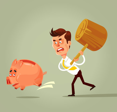 Poor bankrupt businessman office worker running chase piggy bank with hammer. Financial crisis problems flat cartoon illustration graphic design concept