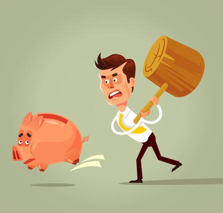 Poor bankrupt businessman office worker running chase piggy bank with hammer. Financial crisis problems flat cartoon illustration graphic design concept Standard-Bild - 102640039