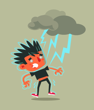Unhappy unsuccessful man character hitting by lightning strike. Bad weather storm flat cartoon illustration graphic design concept Ilustração