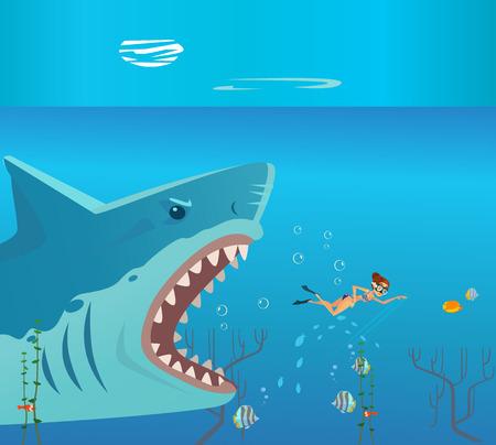 Huge grate big shark character attack small woman person victim. Danger diving vacation flat cartoon illustration graphic design concept element