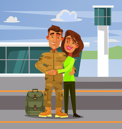 Brave happy smiling soldier man character coming back home to his wife girlfriend woman. Military war flat cartoon illustration graphic design concept element