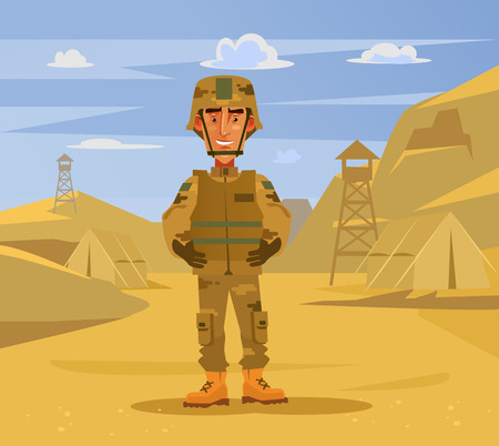 Happy smiling soldier man character standing on camp background. Military war flat cartoon illustration graphic design concept element