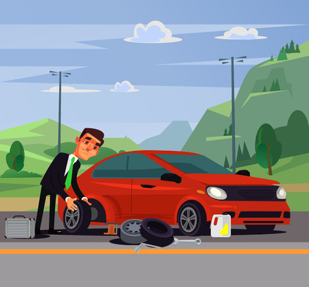 Office worker businessman man character changing fixing car wheel. Transport road problems flat cartoon illustration graphic design concept element