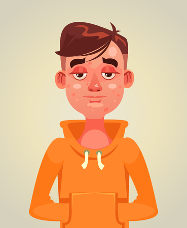 Sad unhappy teen boy man with acne on face. Skin problem flat cartoon illustration graphic design concept element