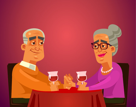 Two happy smiling old people couple grandma and grandpa characters sitting on table restaurant, drinking wine and having date celebrating. Romantic flat cartoon illustration graphic design concept element Illustration
