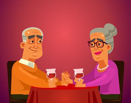 Zwei glückliche lächelnde alte Leute paaren Oma- und Opa-Charaktere, die auf Tischrestaurant sitzen, Wein trinken und Verabredung feiern. Grafikdesign-Konzeptelement der romantischen flachen Karikaturillustration