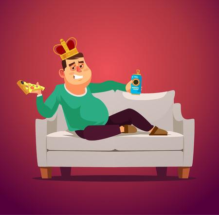 Homme roi de canapé paresseux. Élément de concept de design graphique plat dessin animé illustration