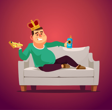 Lazy sofa king man. Flat cartoon illustration graphic design concept element Vettoriali