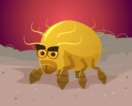 Angry danger flea bug insect parasite sitting on owner host skin hair wool and bite. Parasites problem flat cartoon illustration graphic design concept element Illustration