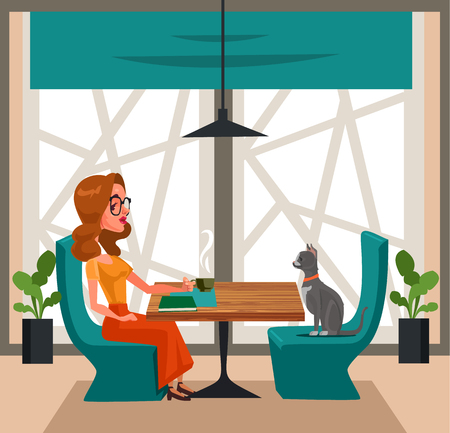 Happy smiling woman drinking coffee with cat. Pet lovers concept cartoon design graphic isolated illustration