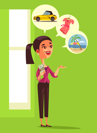 Happy smiling consumer woman holding money dollars, currency and dreaming about purchases, car and vacation. Financial prosperity success rate Illustration