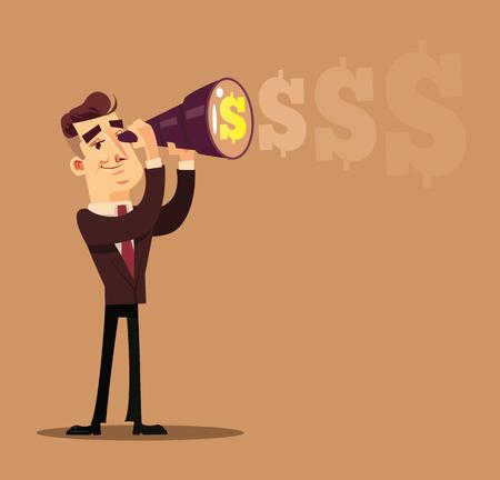 Happy smiling successful businessman. Business success money profit career concept flat cartoon