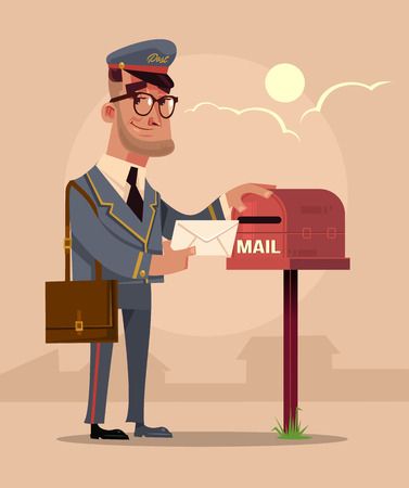 Happy smiling postman character put envelope letter in house mail box. Delivery service concept flat cartoon Ilustração