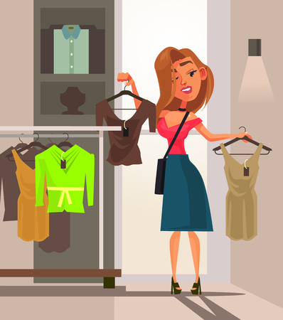Happy smiling woman with a shopping bag. Shopping concept flat cartoon Stockfoto - 103127700