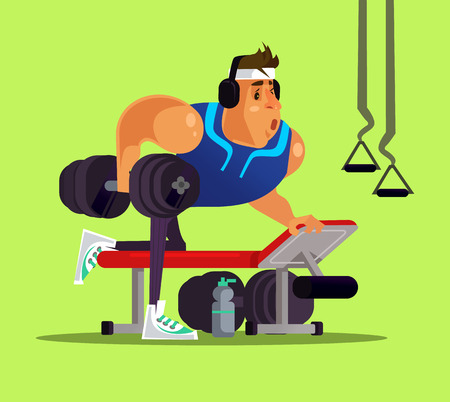Strong big sport man doing workout. Healthy lifestyle concept flat cartoon Illustration