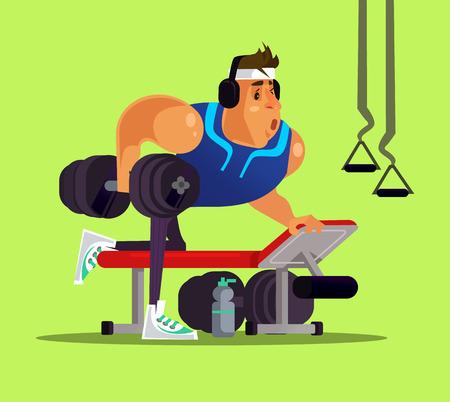 Strong big sport man doing workout. Healthy lifestyle concept flat cartoon Ilustração