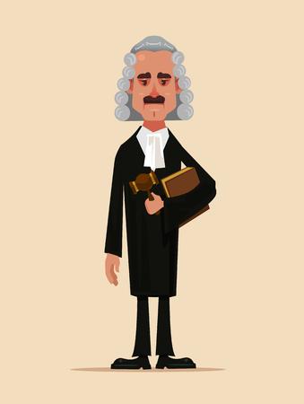 Carattere dell'operaio di corte dell'uomo del giudice che tiene e che tiene libro e martello. Fumetto piatto di bassa giustizia persone protezione concetto