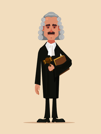 Der Charakter des Gerichtsarbeiters des Richters, der Buch und Hammer hält und hält. Flache Karikatur des Menschenschutzkonzepts der niedrigen Gerechtigkeit