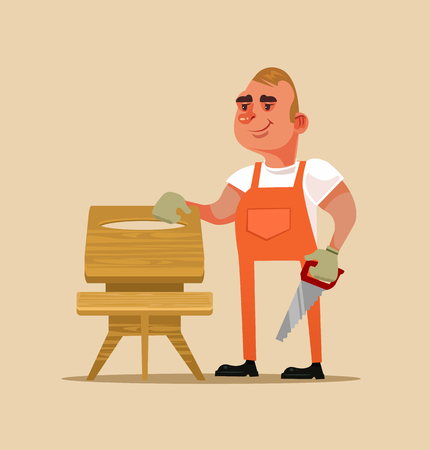 Happy smiling furniture builder. Hand made concept flat cartoon Illustration