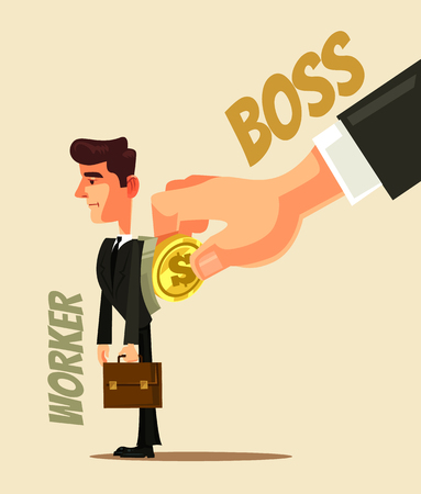 Boss hand put gold coin in tired office worker man character. Salary work slavery concept flat cartoon design graphic isolated illustration Stock Illustratie