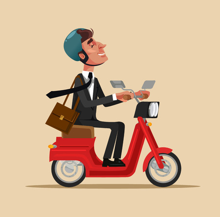 Happy smiling business worker riding a bike. Healthy lifestyle transportation concept flat cartoon