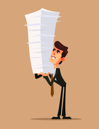 Unhappy office worker businessman holding big business paper. Hard work concept flat cartoon design graphic isolated illustration