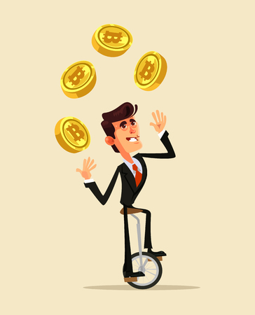 Happy smiling businessman miner office worker character juggle golden bitcoin. Online web successful e-business flat cartoon