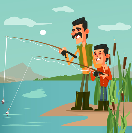 Happy smiling father fisherman dad and son characters fishing. Nature vacation hobby recreation concept flat cartoon design graphic isolated illustration