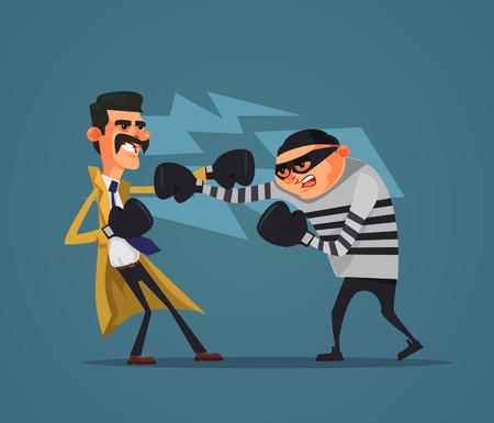 Brave detective policeman character fight criminal prisoner gangster burglar man. Low justice police flat cartoon