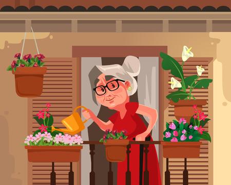 Happy smiling granny grandma grandmother watering flowers plant. Retirement hobby flat cartoon graphic design concept illustration  イラスト・ベクター素材