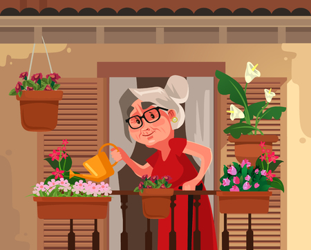 Happy smiling granny grandma grandmother watering flowers plant. Retirement hobby flat cartoon graphic design concept illustration Illustration