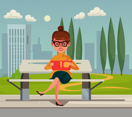 Happy smiling woman sitting on bench in park and reading book. Flat cartoon graphic design concept illustration Illustration