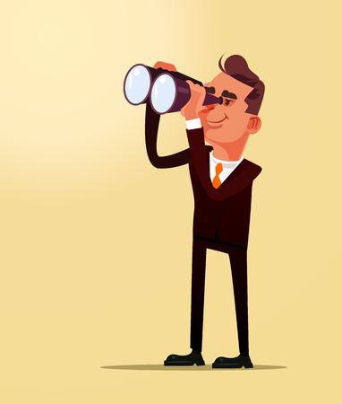 Happy smiling successful businessman office worker man man looking future plane idea through binoculars. Business financial career strategy flat cartoon graphic design concept illustration