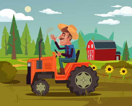 Happy smiling farmer. Agriculture farming country side flat cartoon graphic design concept illustration Vettoriali